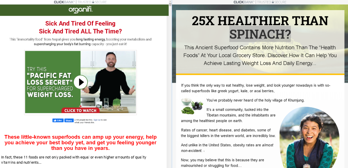 This image shows a screenshot of two landing pages - one text only , the other a VSL - for the green juice sold by Organifi.