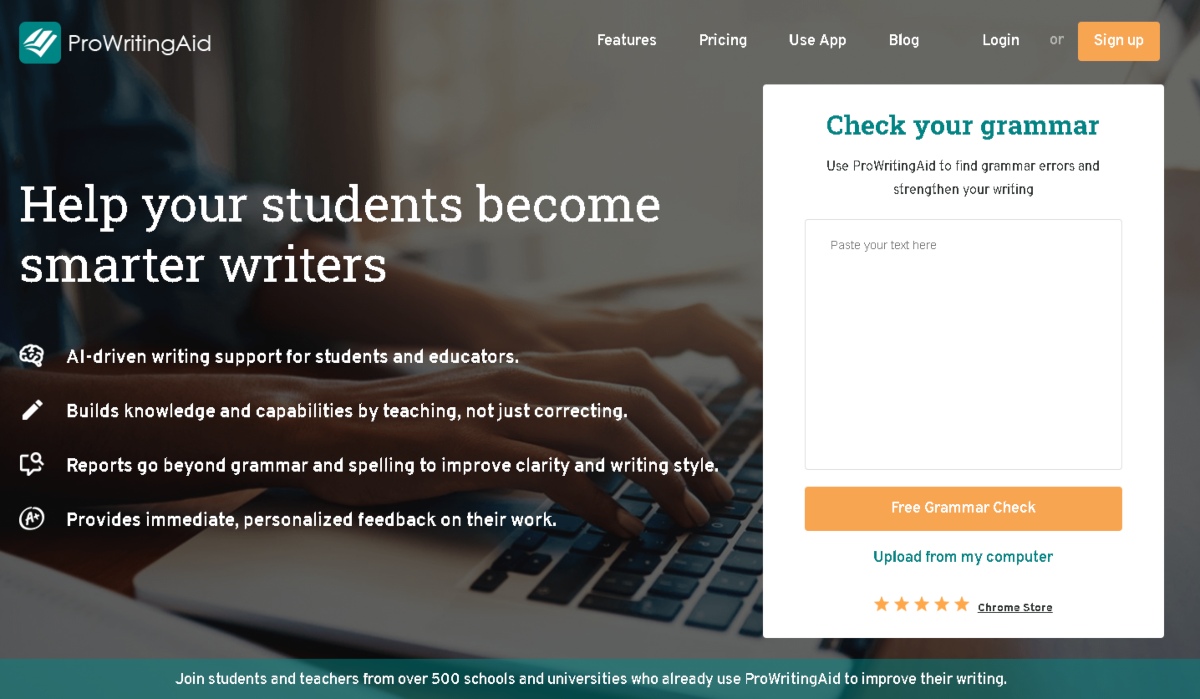 Screenshot taken from the student page of ProWritingAid.com showing the various features the cloud-based writing app offers for students and educators.