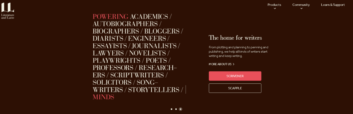 This is  a screenshot from the Literature & Latte website, the creators of Scrivener. The image describes Scrivener as powering writing of all types including in academic writing and used by professors.