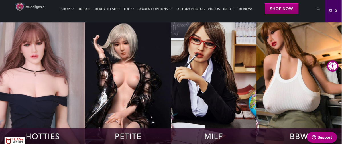 This is a screenshot taken from SexDollGenie.com showing just four categories of sex dolls customers can choose from.