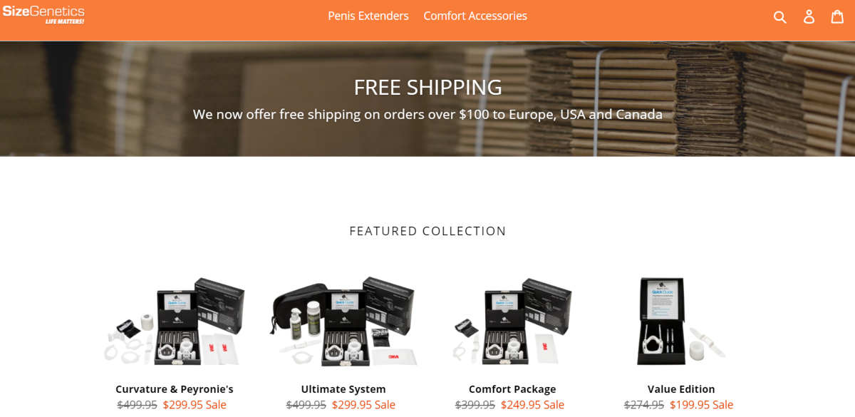 This screenshot shows a featured collection of penis extenders available from the Size Genetics store.