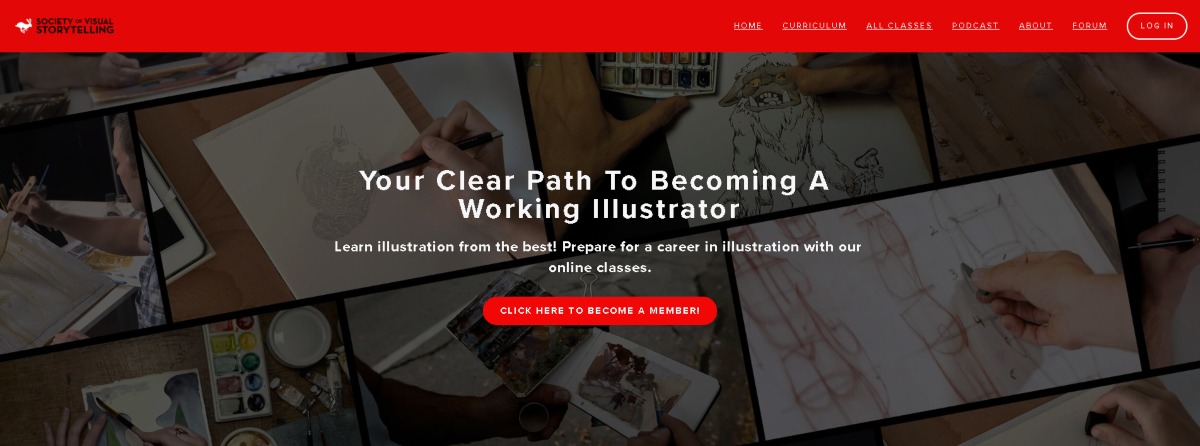 Screenshot taking from the SVSLearn.com, an e-learning platform for artists to learn how to become an illustrator and profit from their artistic talents.