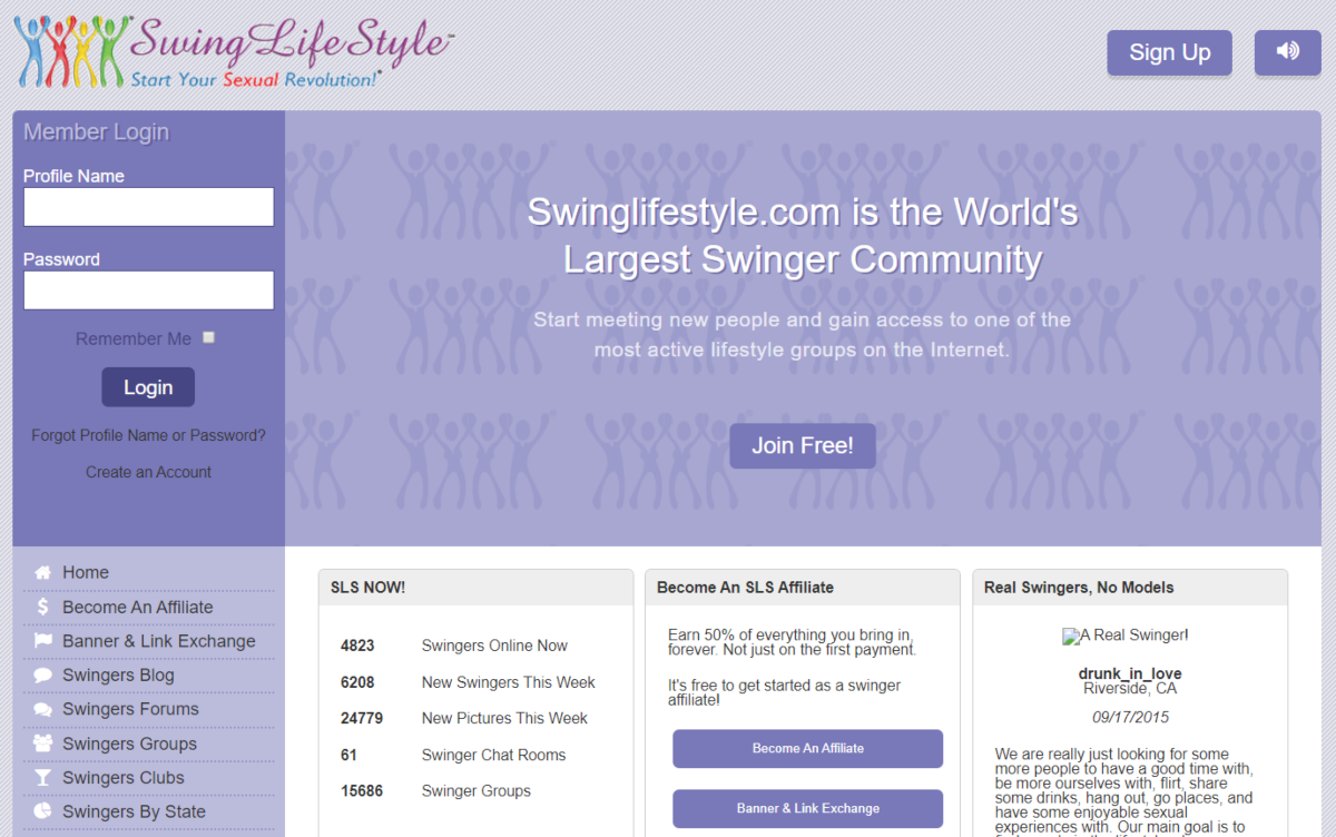 This is a screenshot of the SwingLifestyle.com community website. The world's largest swinging community.