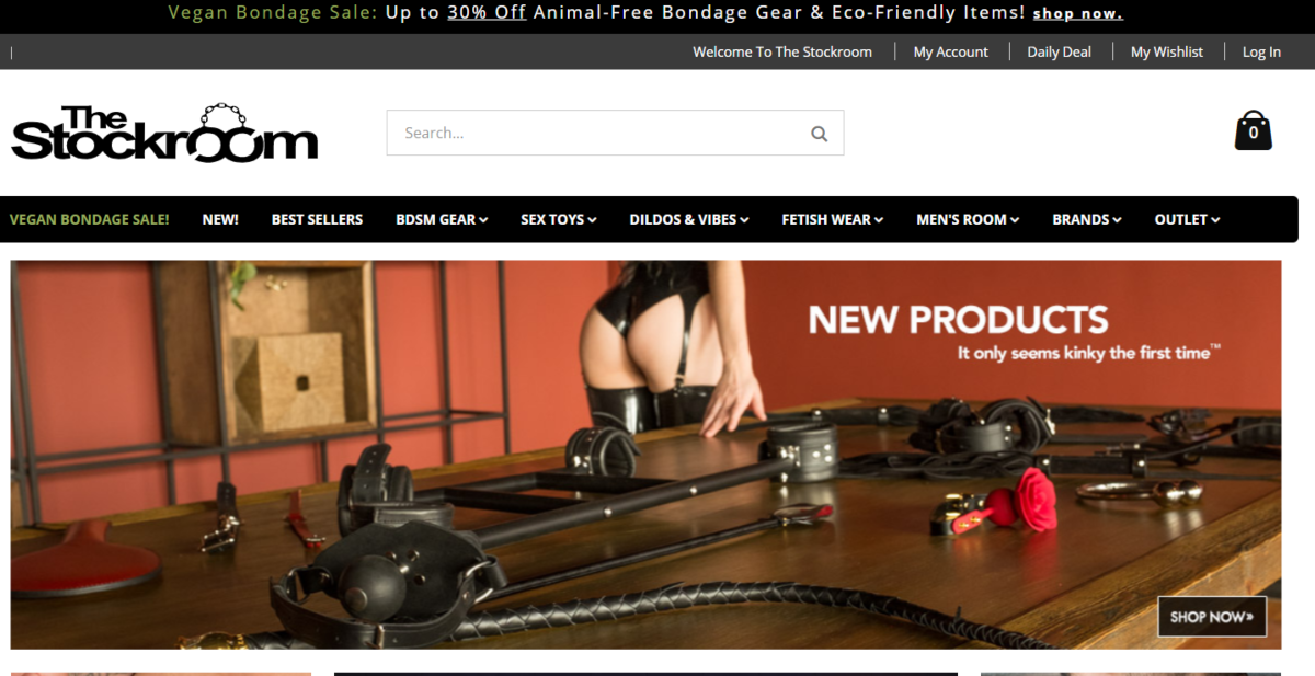 This is a screenshot taken from the Stockroom.com which has an adult sex store where people can buy a range of BDSM gear as well as vegan-friendly sex toys.