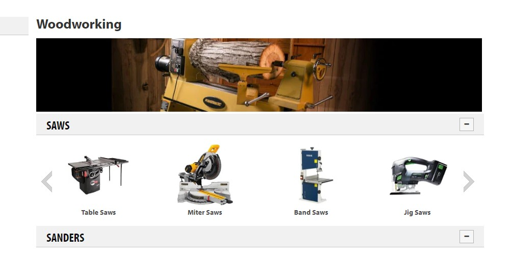 acme tools woodworking category page
