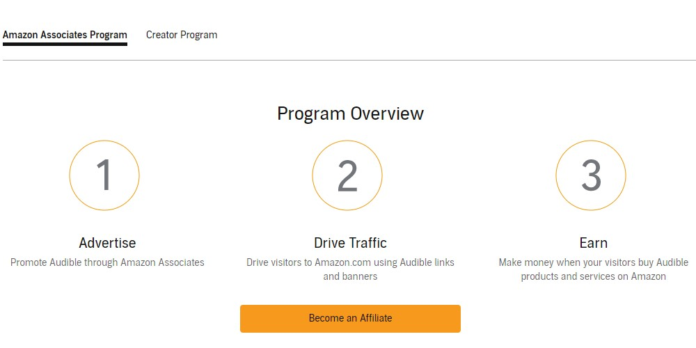 audible affiliate sign up page