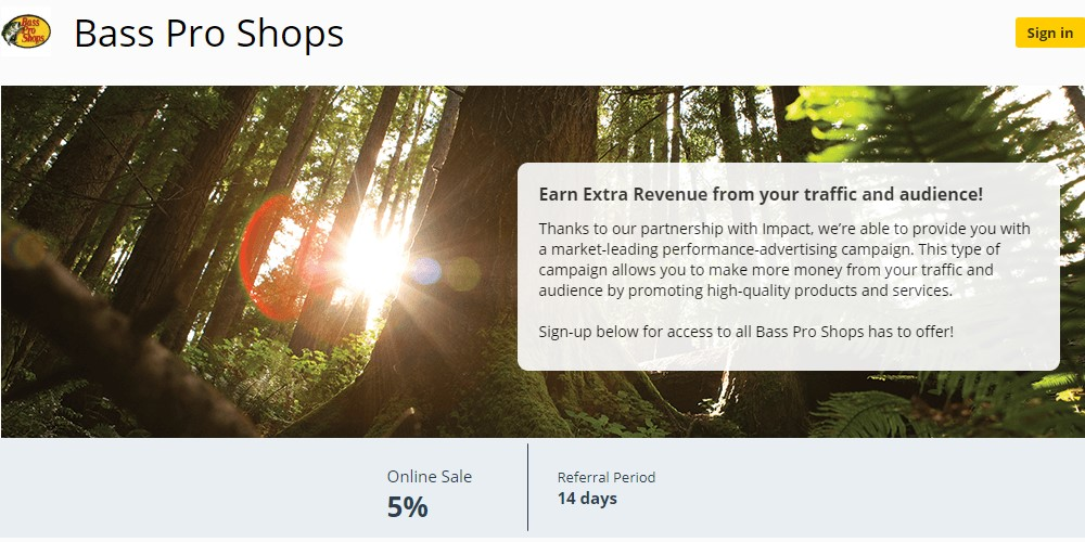 bass pro shops affiliate sign up page