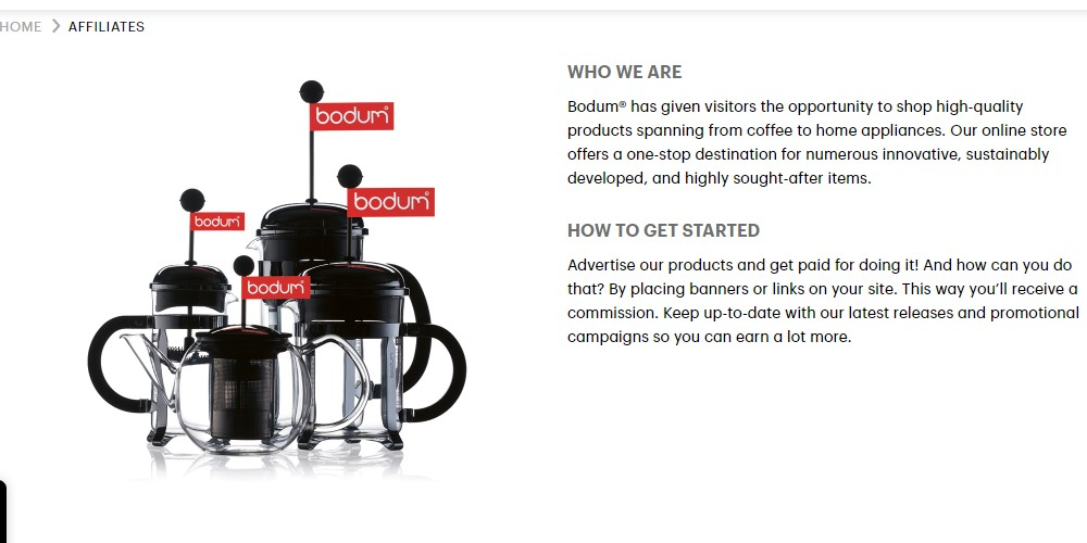 bodum affiliate sign up page