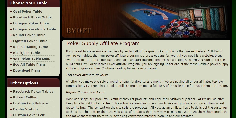 build your own poker table affiliate sign up page