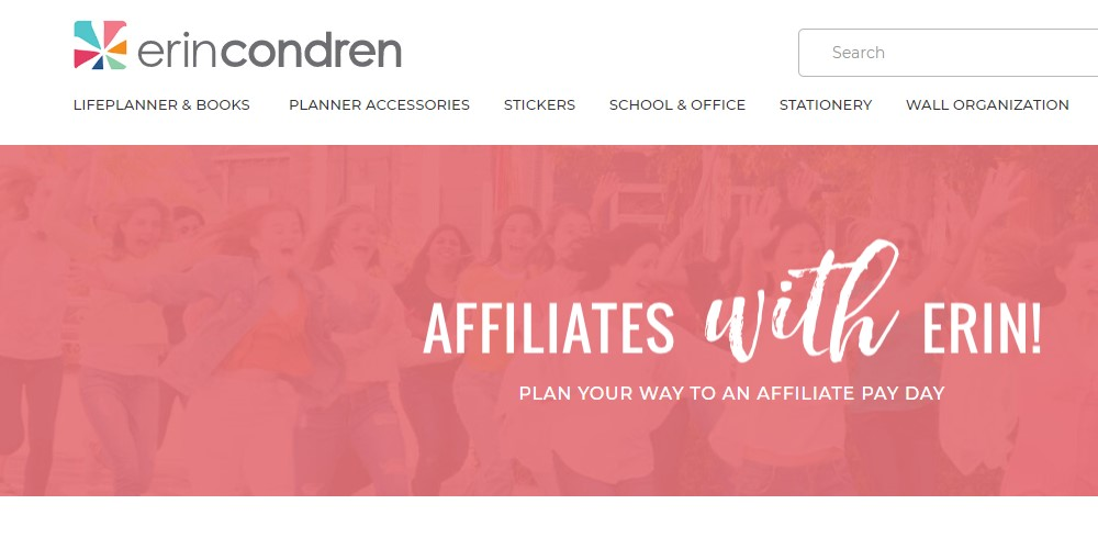 erin condren affiliate sign up page