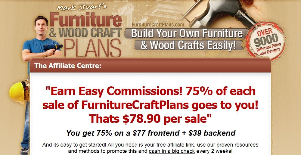 furniture craft plans affiliate sign up page