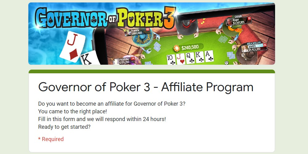 governor of poker affiliate sign up page