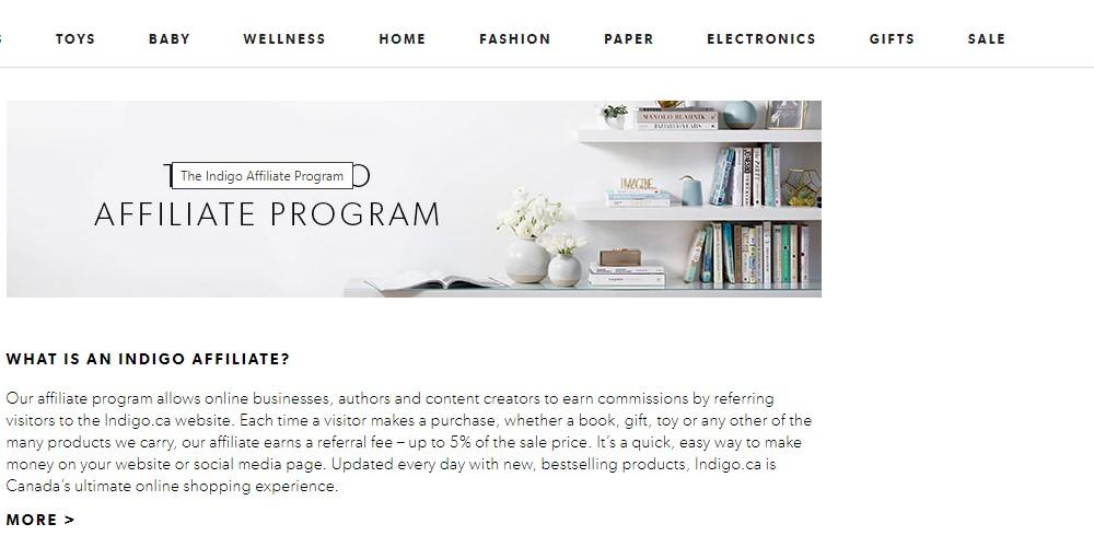 indigo affiliate program sign up page