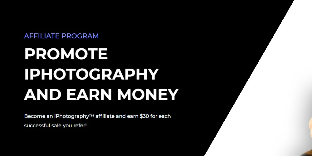iphotography affiliate sign up page