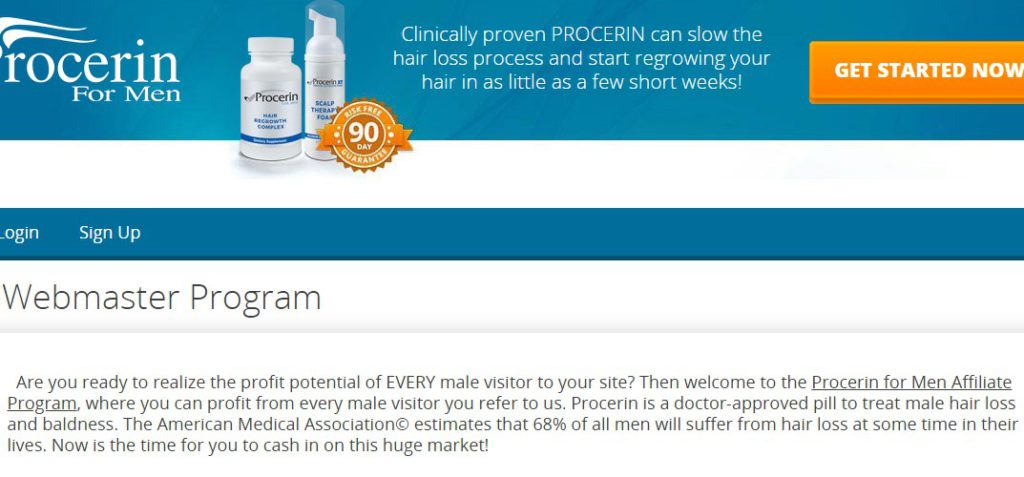 procerin affiliate sign up page