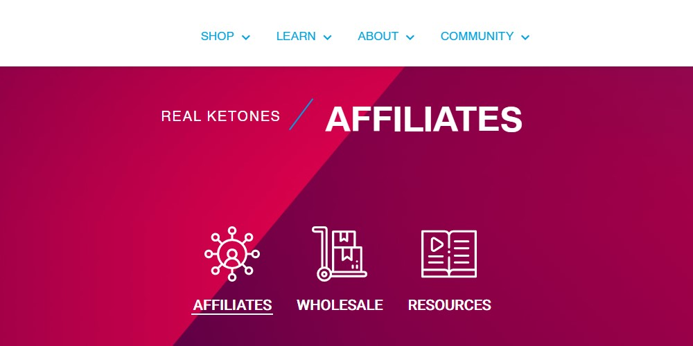 real ketones affiliate sign up page