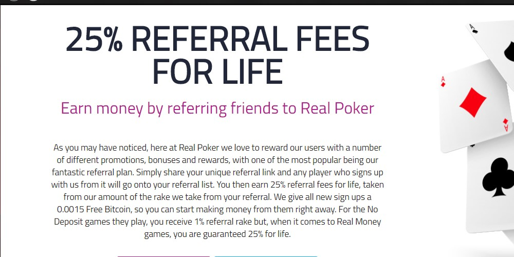 real poker affiliate sign up page