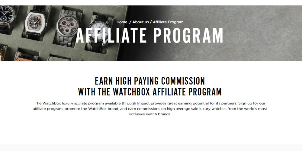 the watch box affiliate sign up page