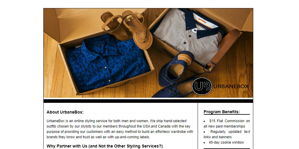 urbane box affiliate sign up page