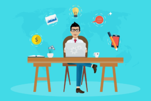 The image shows a cartoon graphic of an independent marketer sitting behind a laptop with icons representing social media, communication, ideas, and a dollar symbol that's representative of how one marketer with just a laptop and an internet connection can build a sales team that's monetized with 2-tier affiliate programs to produce passive income.