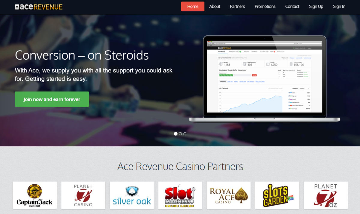 This is a screenshot taken from AceRevenue.com showing they have a strong focus on conversion and give affiliates the support they need to succeed as a casino partner.