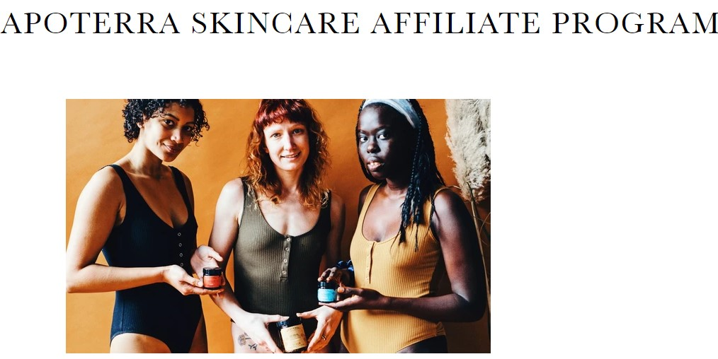Apoterra skincare affiliate program sign up page