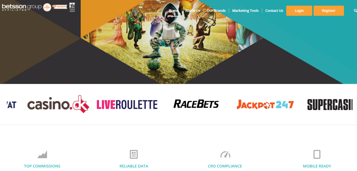 This is a screenshot taken from the Bettson Group Affiliate website showing they represent various casinos including Jackpot247, Racebets, and LiveRoulette.