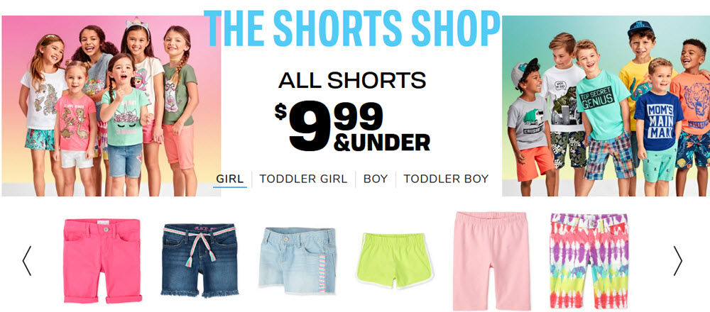 An image of the Children's Place website showing a collection of boys and girls, along with various pairs of shorts