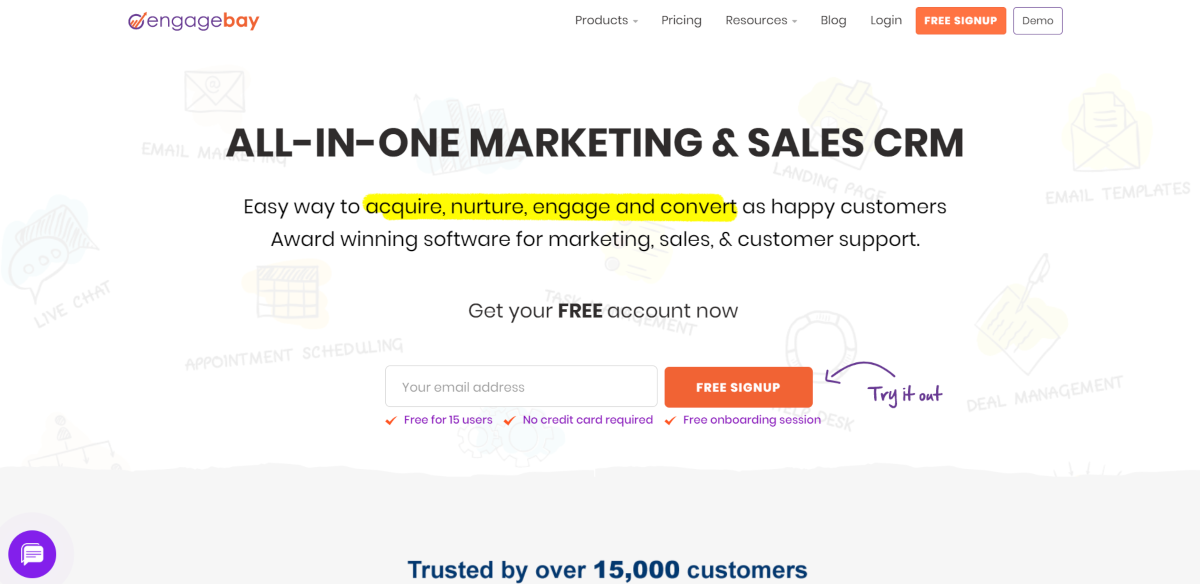 This is a screenshot taken from the EngageBay.com website that provides an all-in-one marketing and sales CRM capable of providing live chat, email automation, marketing automation, appointment scheduling, task management and deal management.