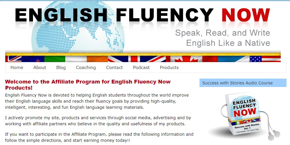 English Fluency affiliate sign up page