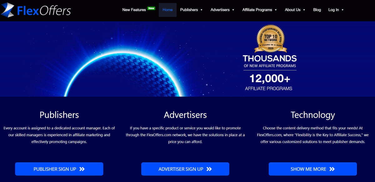 This is a screenshot of the Flex Offers website showing they're an affiliate network with dedicated managers for affiliates and they reward affiliates for referring new publishers to the network.