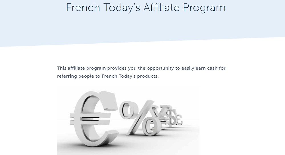 French today affiliate sign up page