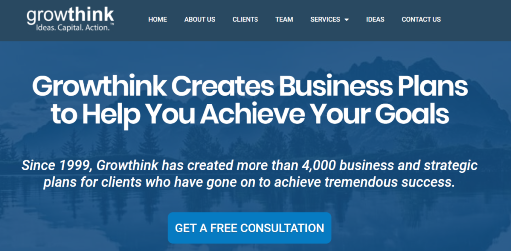 This is a screenshot taken from the business plan service page of Growthink.com that shows the team have created more than 4,000 strategic business for clients, and they help them win funding too.