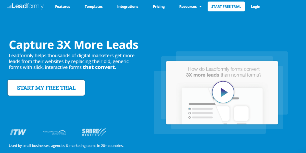 Image shows a screenshot of the LeadFormly.com website where digital marketers can design interactive forms to increase leads.