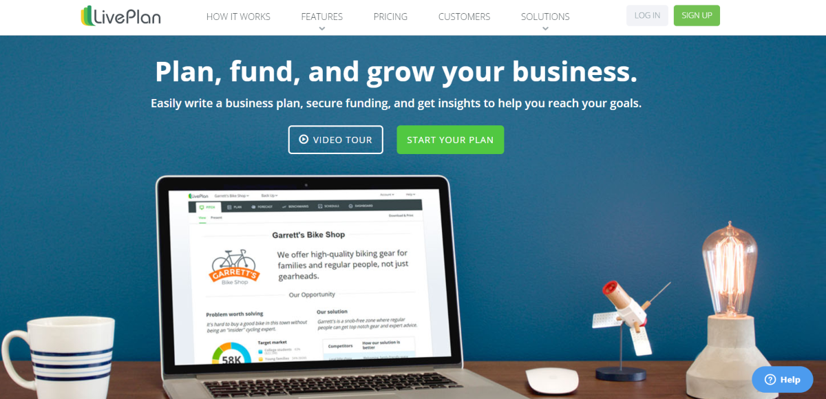 This is a screenshot taken from the live Plan website that provide a cloud-based business plan software for entrepreneurs to plan, fund and grow a business.