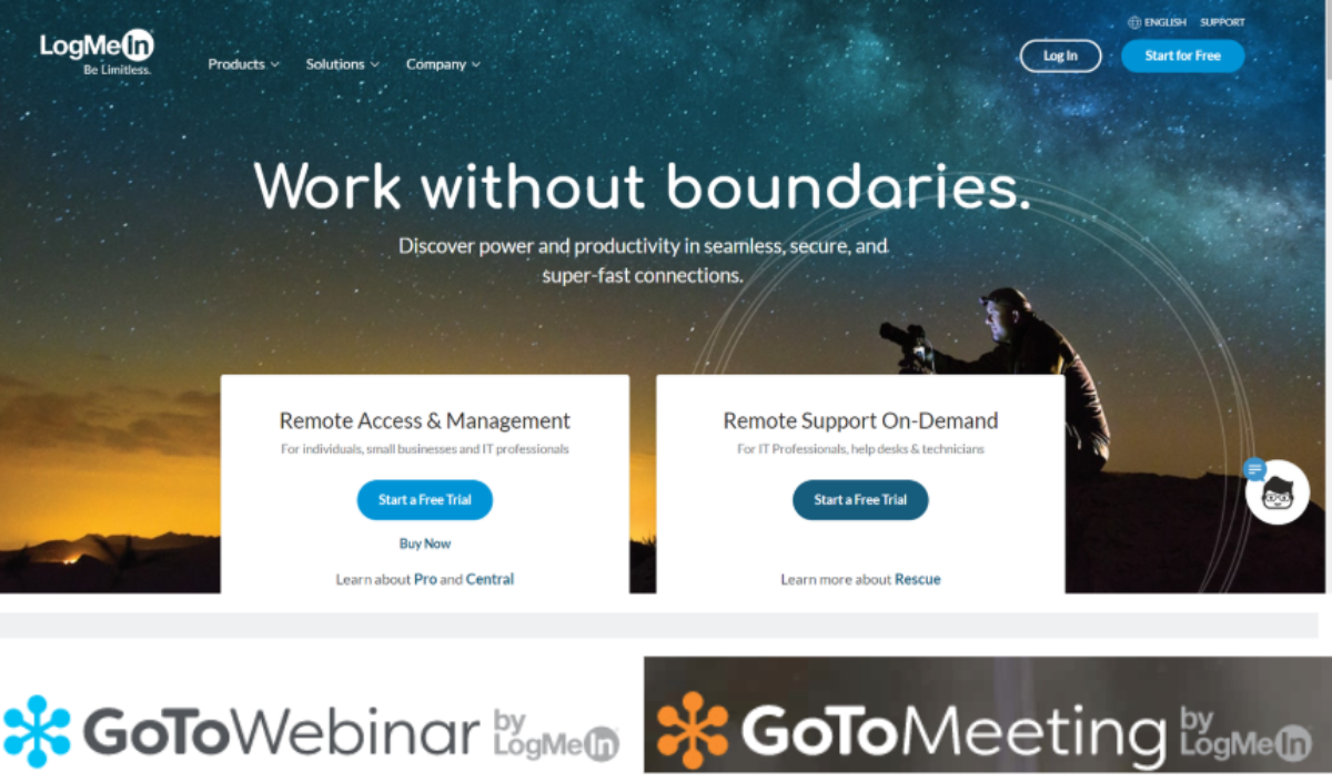 This is a screenshot of the LogMeInInc.com, which is a partner network that represents the GoTo brands including GoToWebinar and GoToMeeting.