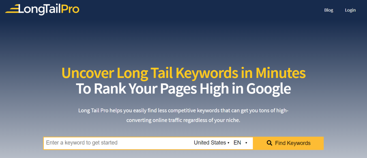 This is a screenshot of the LongTailPro.com website that provides a cloud-based keyword research tool that's use by SEO agencies, online business owners and content marketers.