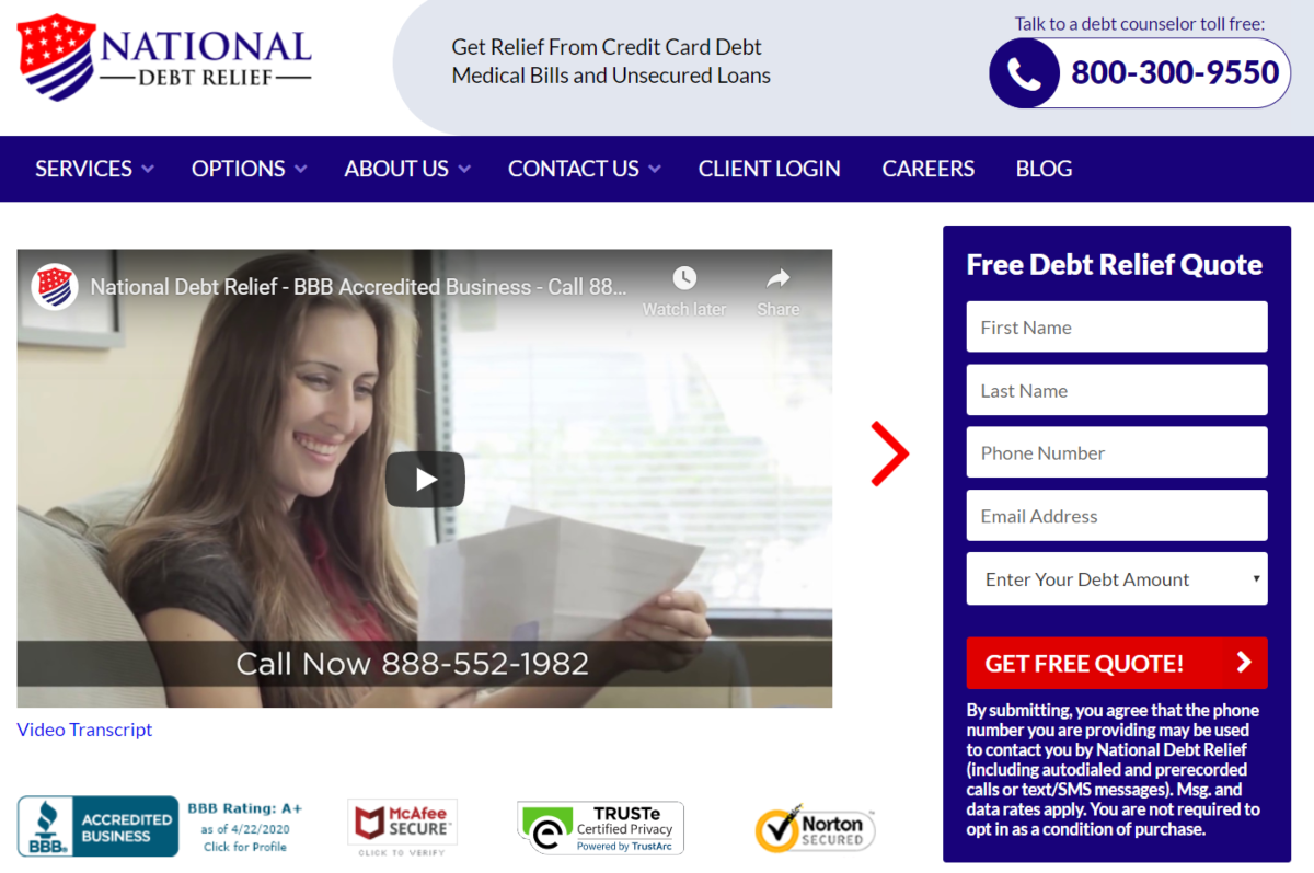 This is a screenshot taken from the official National Debt Relief website showing they are BBB accredited and make it easy for people with debt to reach their team of advisors for advice ahout debt.