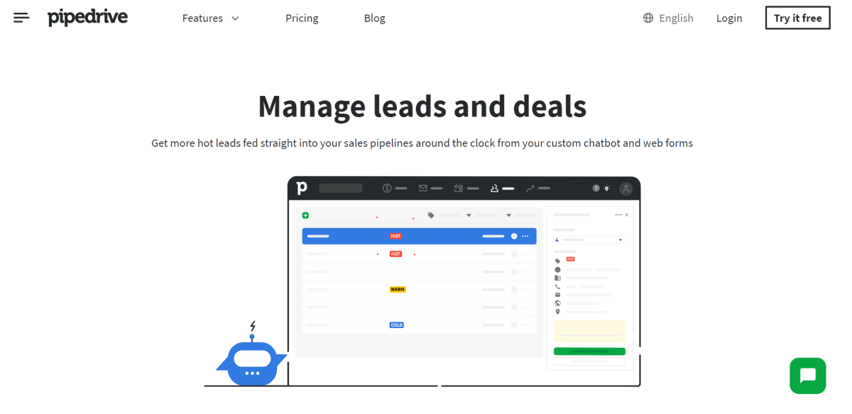 This is a screenshot of the Lead Management feature page of the PipeDrive CRM that's designed to feed leads directly into sales pipelines.