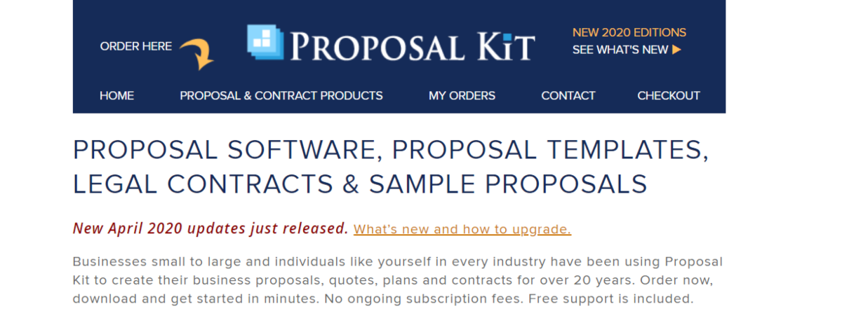 This is a screenshot from the ProposalKit.com website showing they supply proposal software bundled with templates and legal contracts as well as editable sample proposals to help streamline creating and managing multiple proposals to win business contracts.
