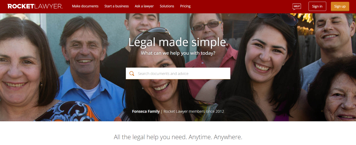 This is a screenshot taken from the Rocket Lawyer website that provides a range of affordable legal services for business startups including legal documents and access to attorneys for a fixed fee.