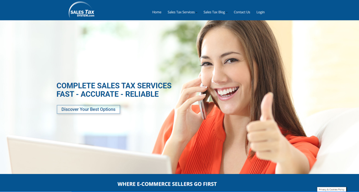 This is a screenshot taken from SalesTaxSystem.com - a platform providing services for sales tax suitable for e-commerce store owners on Shopify and for Amazon Sellers.