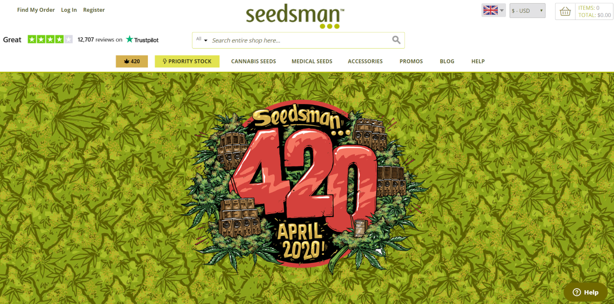 This is a screenshot taken from the Seedmans.com website where they are making strategic use of the 420 event for 2020, which is one of the largest promotional events in the cannabis industry worldwide.