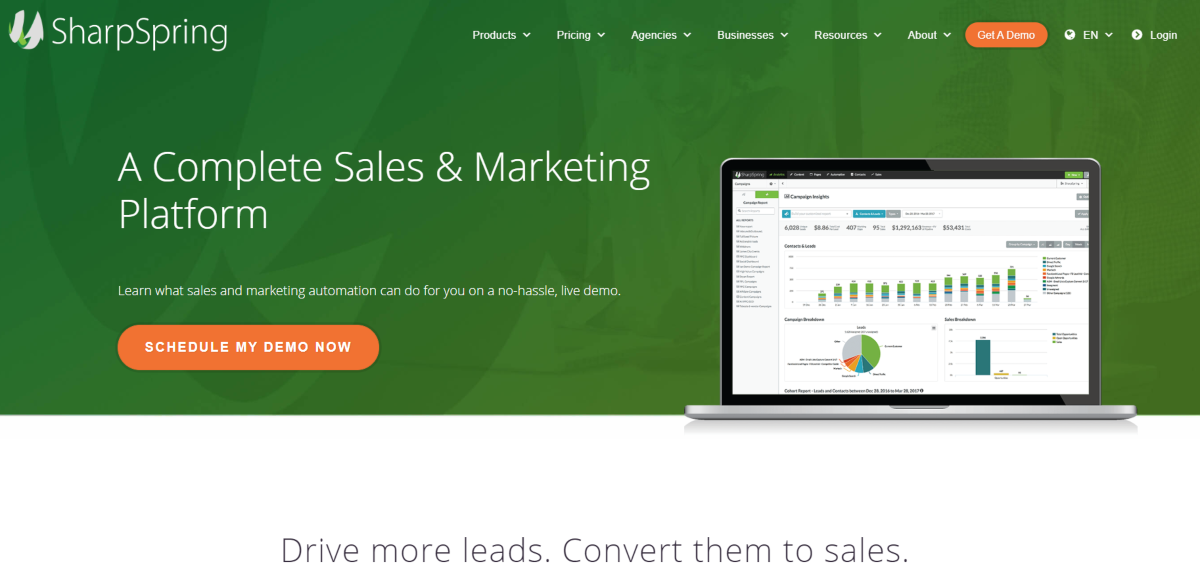 This is a screenshot from the Sharp Spring website offering a complete suite of marketing automation tools catering to lead generation, conversion rate optimization and a CRM to manage sales pipelines.