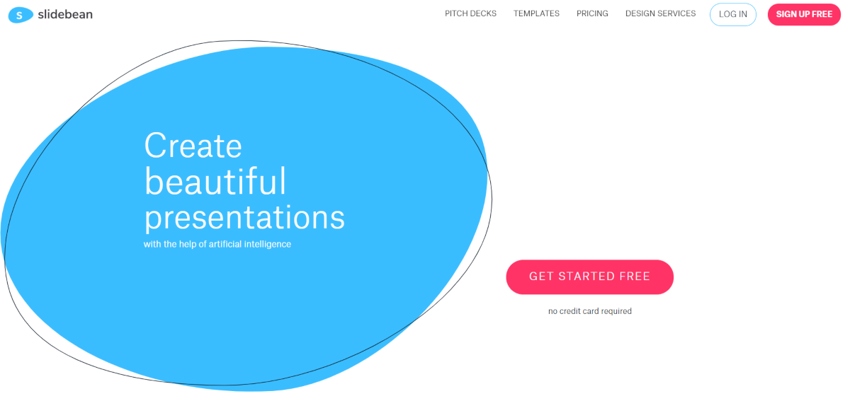 This is a screenshot from the Slidebean.com website that provides cloud-based presentation software that uses AI technology that can help startup founders create effective presentations for pitching to investors.