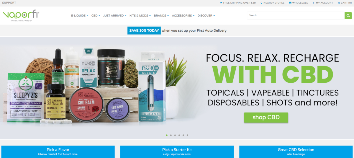 This is a screenshot taken from Vaporfi.com that shows they have a range of vape products including topicals, tinctures, disposables and vape starter kits.
