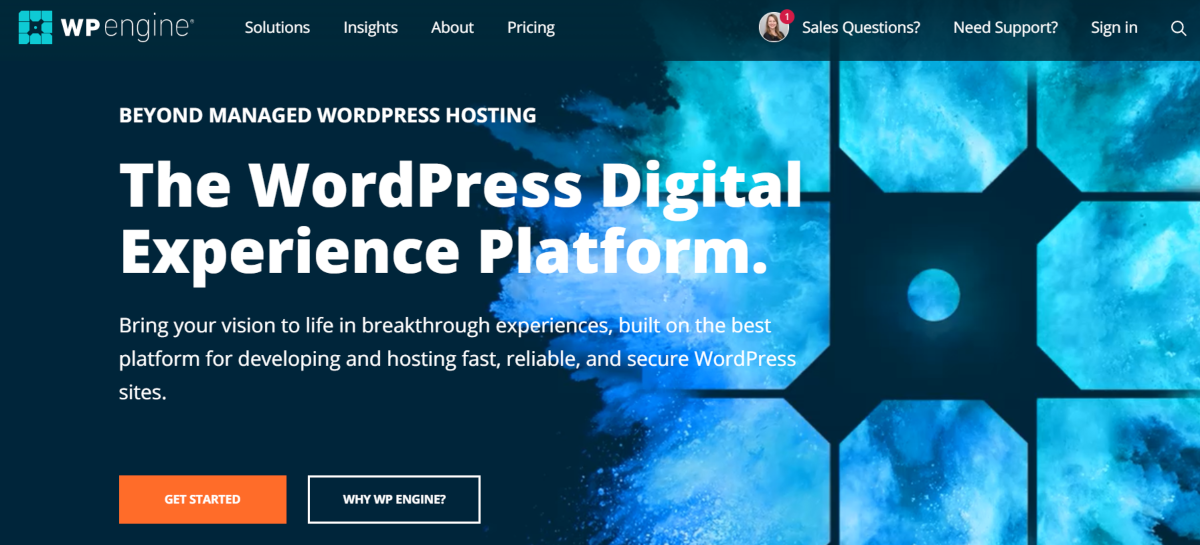 This is a screenshot taken from the WP Engine website where online business pwners and startups can sign up for fast, secure and reliable managed WordPress hosting.