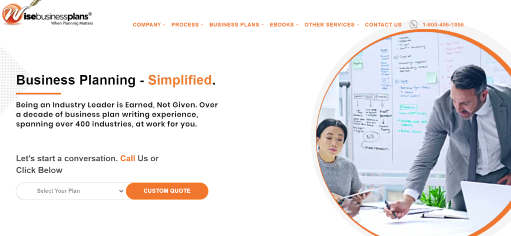 This is a screenshot taken from the WiseBusinessPlans.com website that shows they have experience preparing and writing business plans in over 400 industries.