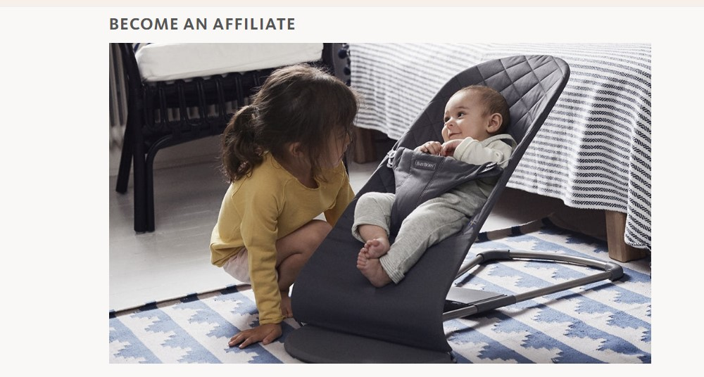baby bjorn affiliate sign up page