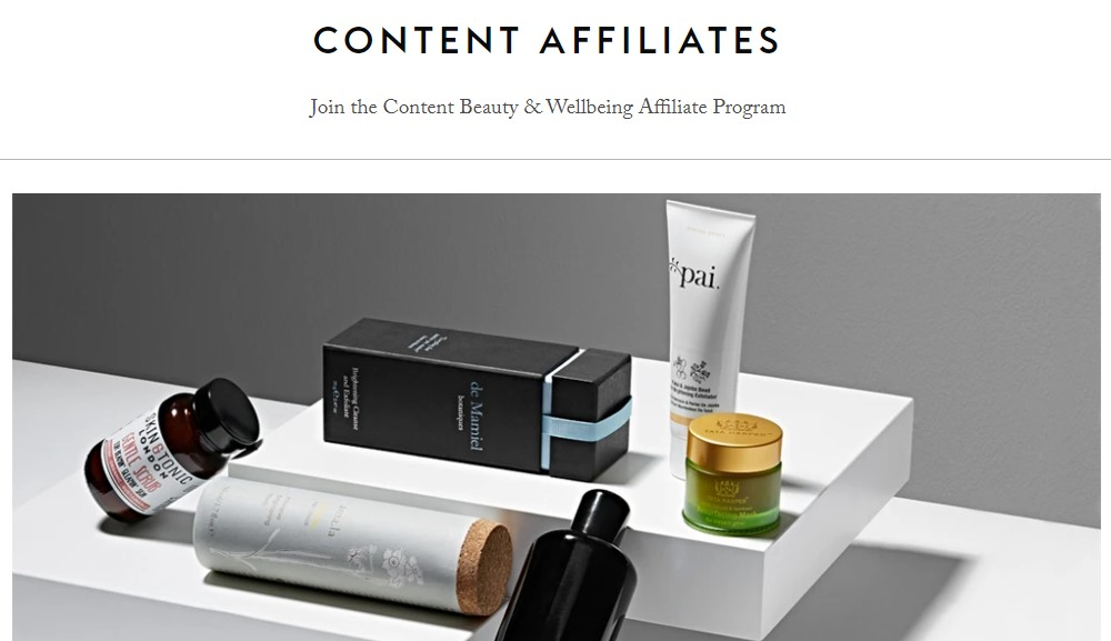 content beauty affiliate sign up page